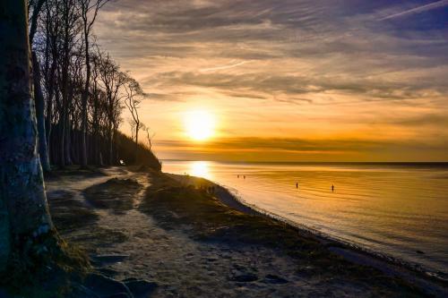 Angler an der Ostseeküste mit Sonnenuntergang
